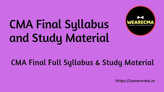 CMA Final Syllabus